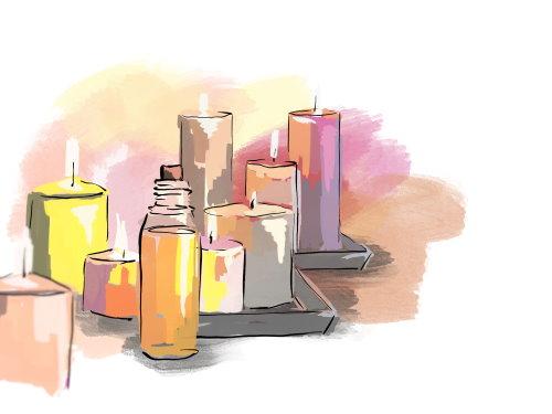 Kerzen und Öl für die erotische Massage